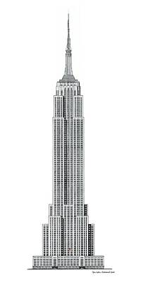Empire State Building Mixed Media - Limited Edition Empire State Building With Flag - Black And White by Gene Nelson