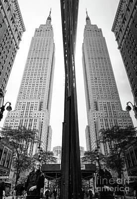 Photograph - Empire State Man, New York City  -80107-bw by John Bald