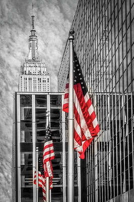 Photograph - Empire State Nyc Reflections Bw by Susan Candelario