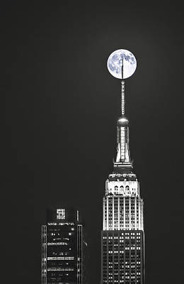 Photograph - Empire State Of Moon_print 26x40 by Eduard Moldoveanu