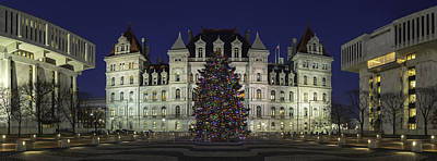 Photograph - Empire State Plaza Holiday by Brad Wenskoski