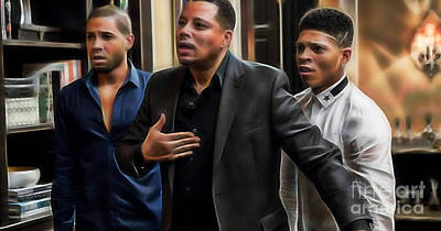 Actors Mixed Media - Empire Terrance Howard Jussie And Bryshere by Marvin Blaine
