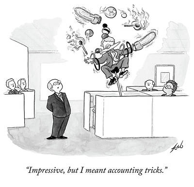 Drawing - Employee Shows Boss Circus Tricks. by Tom Toro