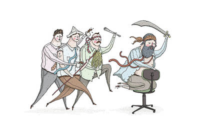 Drawing - Employees Running In Anger by David M Galletly