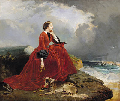 Contemplating Painting - Empress Eugenie by E Defonds