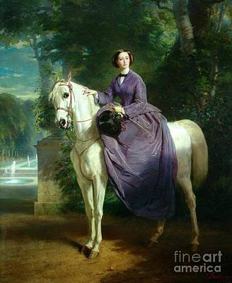 Empress Painting - Empress Eugenie On Horseback by MotionAge Designs