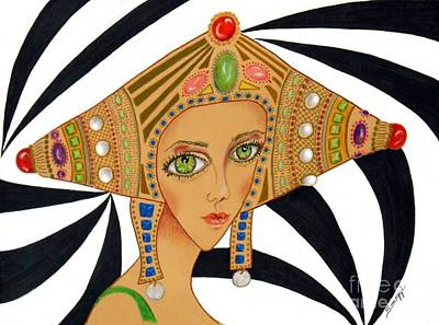 Drawing - Empress Exotica -- Whimsical Exotic Woman by Jayne Somogy