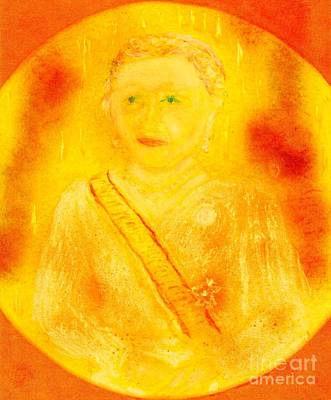 Painting - Empress Michiko Of Japan Gold by Richard W Linford
