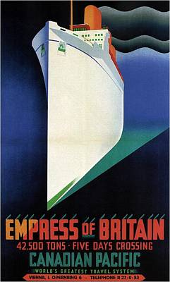 Mixed Media - Empress Of Britain - Canadian Pacific - Steamship - Retro Travel Poster - Vintage Poster by Studio Grafiikka