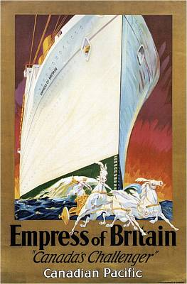 Mixed Media - Empress Of Britain - Canadia's Challenger - Cruise - Retro Travel Poster - Vintage Poster by Studio Grafiikka