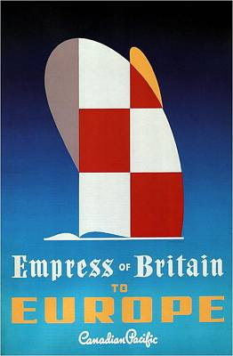 Mixed Media - Empress Of Britain To Europe - Canadian Pacific - Retro Travel Poster - Vintage Poster by Studio Grafiikka