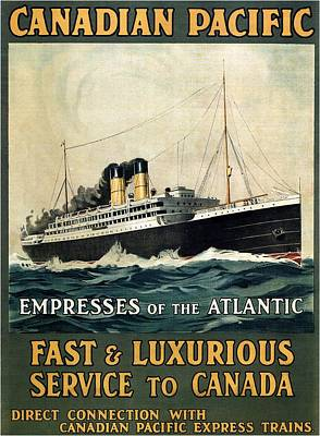 Mixed Media - Empress Of The Atlantic - Canadian Pacific - Steamship - Retro Travel Poster - Vintage Poster by Studio Grafiikka