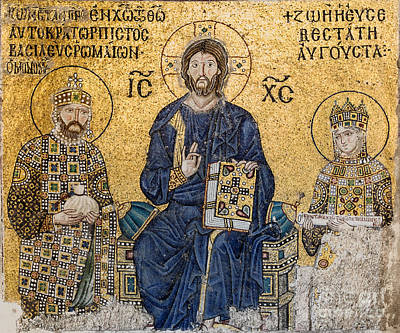 Painting - Empress Zoe Mosaics Inside Hagia Sophia by Celestial Images