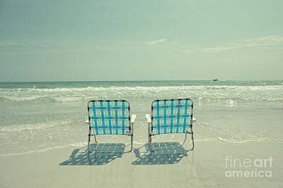 Photograph - Empty Beach Chairs by Edward Fielding