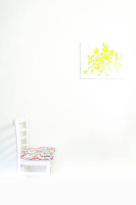 Empty Chair With Yellow Roses Art Print