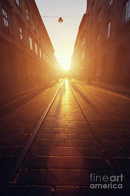 Stones Photograph - Empty Cobblestone Street In Old Town At Sunset. by Michal Bednarek