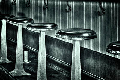 Photograph - Empty Counter Stools Jerome Arizona by Roger Passman