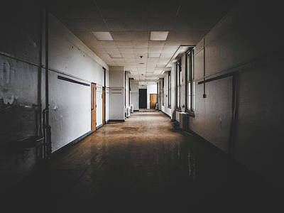 Photograph - Empty Hallway In Abandoned School by Dylan Murphy