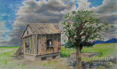 Rural Decay Drawing - Empty Homestead  by Jeanette Skeem