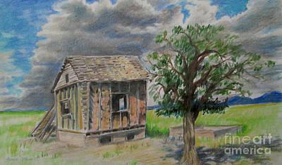 Cabin Window Drawing - Empty Homestead  by Jeanette Skeem