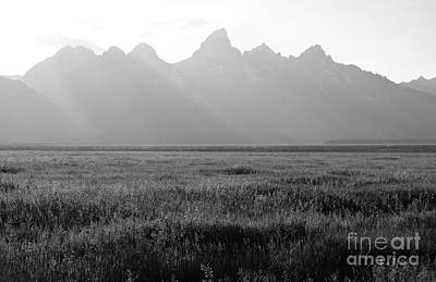 Western Themed Photograph - Empty Meadow Beneath Grand Teton Mountain Range Outdoor Western Scenic Wyoming Black And White by Shawn O'Brien