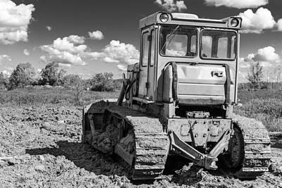 Photograph - Empty Monochrome Industrial Earth Moving Machine by John Williams