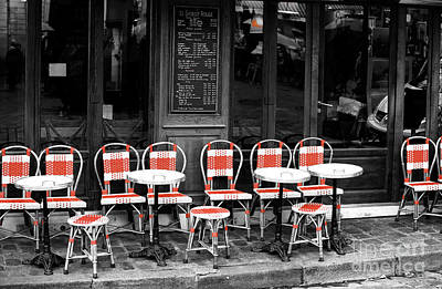 Of Artist Photograph - Empty Montmartre Cafe Fusion by John Rizzuto
