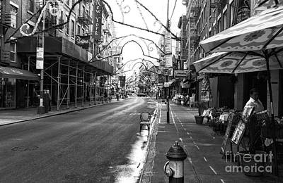 Photograph - Empty Mulberry Street Mono by John Rizzuto