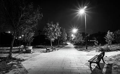 Photograph - Empty Park Benches. by Gary Gillette