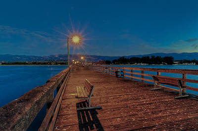 Empty Pier Glow Art Print by Connie Cooper-Edwards