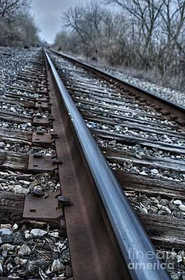 Che Digital Art - Empty Railroad Tracks by J M Lister