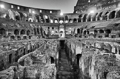 Photograph - Empty Roman Colosseum Interior And Underground At Night Black And White by Shawn O'Brien