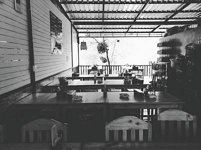 Photograph - Empty Seat In Open Local Restaurant Black And White Color by Siri