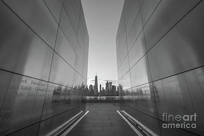 911 Memorial Photograph - Empty Sky Memorial Sunrise Bw by Michael Ver Sprill