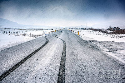 Photograph - Empty Snowy Highway by Anna Om