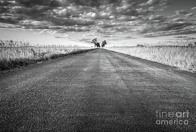 Hope Photograph - Empty Straight Long Asphalt Road. Black And White by Michal Bednarek