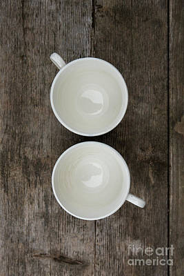Photograph - Empty White Coffee Cups by Edward Fielding