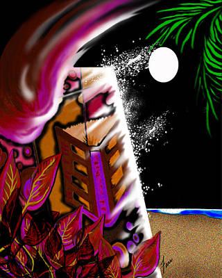 Moonlit Mixed Media - Emptynightonmoondustedoasis by Steve Farr