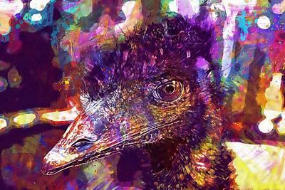 Emu Digital Art - Emu Animal Bird Head Large Emu  by PixBreak Art