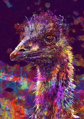 Emu Digital Art - Emu Australia Western Australia  by PixBreak Art