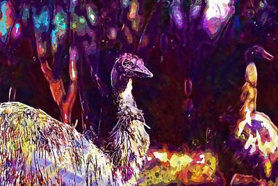 Emu Digital Art - Emu Bird Flightless Wild Curious  by PixBreak Art