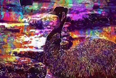 Emu Digital Art - Emu Bird Nature Animal Wildlife  by PixBreak Art