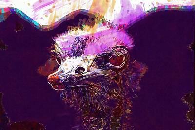 Emu Digital Art - Emu Bouquet Bill Portrait Strauss  by PixBreak Art