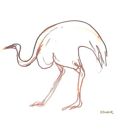 Emu Drawing - Emu by Deborah Dendler