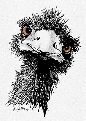 Digital Art - Emu by Kathie Miller