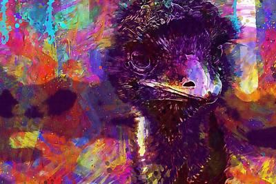 Emu Digital Art - Emu Poultry Strauss Run  by PixBreak Art