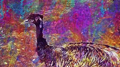 Emu Digital Art - Emu Zoo Pm Outdoor Animal  by PixBreak Art