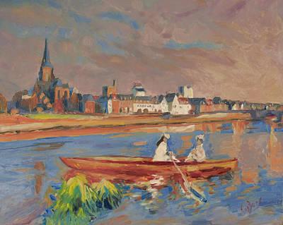 Boat Painting - En Bateau De Renoir Sur La Meuse A Maestricht by Nop Briex
