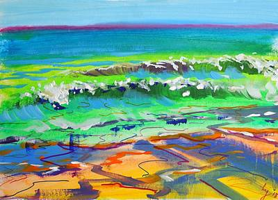 Mixed Media - En Plein Air Green Ocean Waves At Fistral Beach by Mike Jory