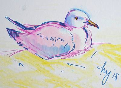 Drawing - En Plein Air Seagull Drawing From Life by Mike Jory